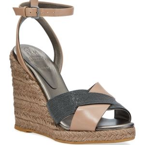 "Brunello Cucinelli 3.3"" Leather Wedge Sandal."